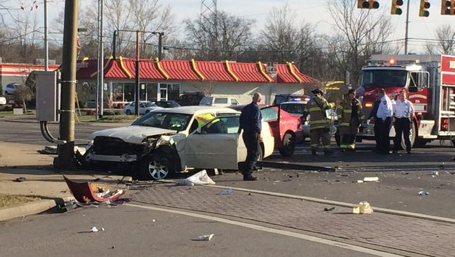 A three-car collision Wednesday afternoon at the intersection of Broad and Church resulted in one fatality and two people injured.