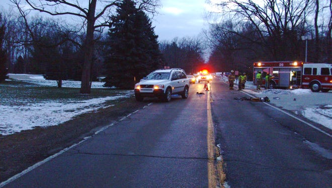 Emergency crews responded around 7 a.m. Thursday to a crash scene on White Lake Road in Tyrone Township. A pedestrian died after being struck by two vehicles.