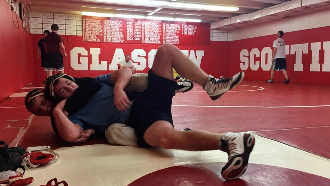 At practice with the Glasgow Scotties wrestlers