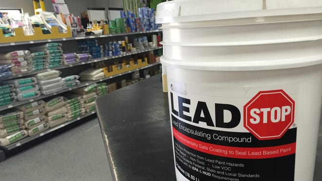 Painting over lead-based paint  reduces risk to children.  Lead encapsulator is sold at Caddo Paint.
