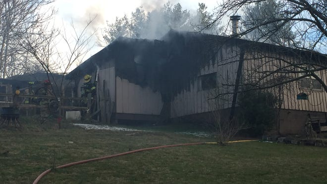 A fire Saturday evening destroyed a garage on Porter Road in East Asheville.