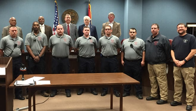 Six of Forrest County's recenlty-hired part-time firefighters stopped by Monday's meeting of the Forrest County Board of Supervisors.