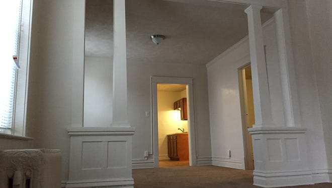 This photo depicts the craftsman-style interior columns in a renovated apartment unit at 800 E. Michigan Ave. Gillesie Group renovated the apartments, which will bring roughly 15 tenants.
