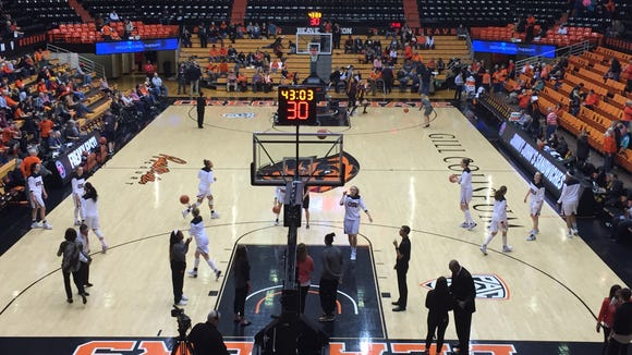 The Oregon State women's basketball team warms up for its game against Arizona State at Gill Coliseum.