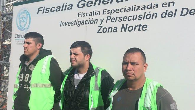 Daniel Andres Chavez Muñoz, left to right, Carlos Nivardhy Hernandez De la Rosa, and Luis Fernandez Mendez Delgado were arrested last week in Juárez.