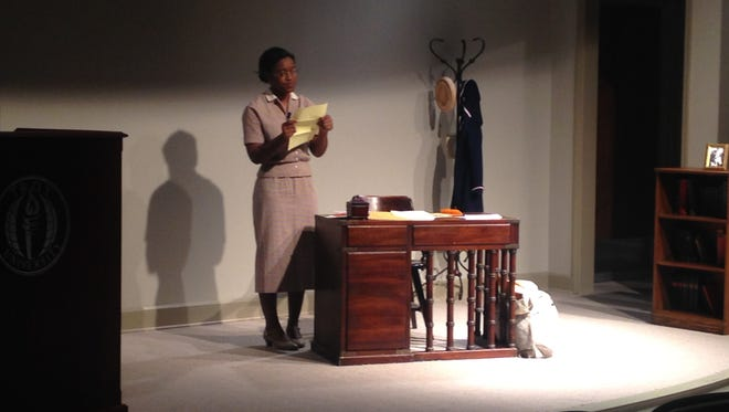 Troy student, Adira Burton gives dramatic performance of Rosa Parks Tuesday at the Rosa Parks Museum in Montgomery.