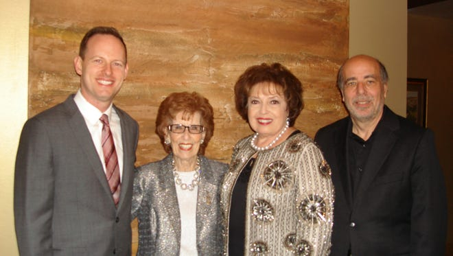 (left to right)  Concertmaster Sam Fischer,Co-founder of The Desert Symphony Marilyn Benachowski, Board President of The Desert Symphony Nancy Tapick, and Music Director and Conductor of The Desert Symphony Gary Berkson.