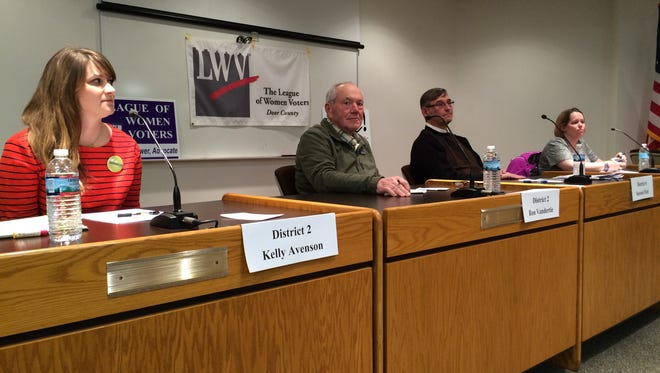 Sturgeon Bay City Council candidates, Kelly Avenson and Ron Vandertie of District 2 and Stewart Fett and Nissa Norton of District 6 participated in the two-hour question and answer community forum Wednesday evening.