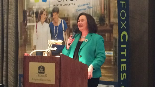 Stephanie Klett, Wisconsin tourism secretary, addresses a crowd at the Fox Cities Tourism Breakfast in Neenah Feb. 5.