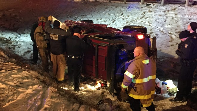 Two people had to be extricated from a one-vehicle crash Saturday night on U.S. 30, just west of Trimble Road.
