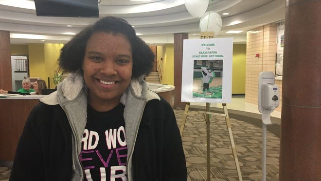 Jade Kittles, 17, attended a Team FAFSA event at Cincinnati State Technical and Community College on Saturday. Jade graduates in May from Skarlet Oakes at Winton Woods and wants to pursue a career in the digital arts.