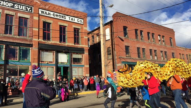 The dragon approaches the Mai Wah Society, a piece of Butte's historic Chinatown.