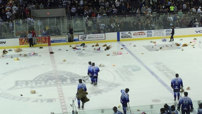 Part of the teddy bear collection tossed on the ice Saturday. The Ice Flyers collected more than 1,000 toy stuff animals and distributed Monday to Sacred Heart Hospital.