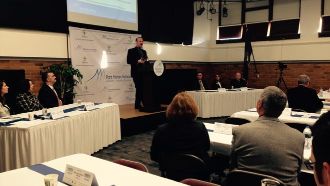 """Port Huron Schools Superintendent James Cain gives """"State of the District"""" address to local business and community leaders Thursday morning."""