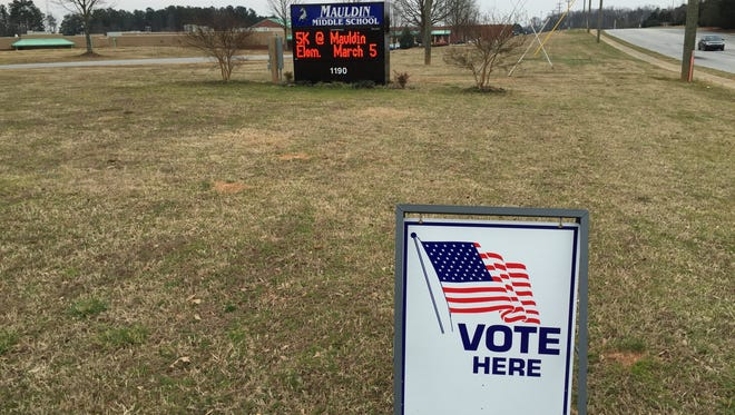 A steady stream of citizens filed into the Mauldin 7 precinct at Mauldin Middle School Saturday to vote in the South Carolina Republican Primary.