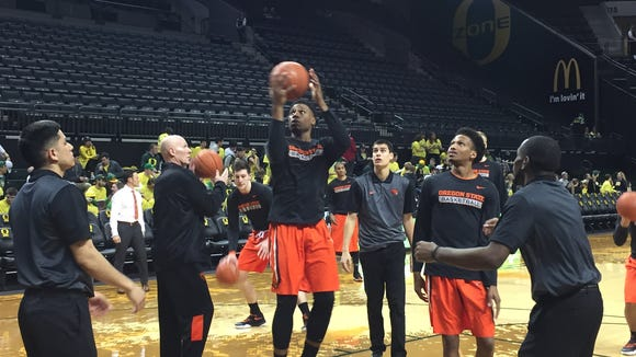 Langston Morris Walkers and the Beavers warm up for the Civil War at Matthew Knight Arena.