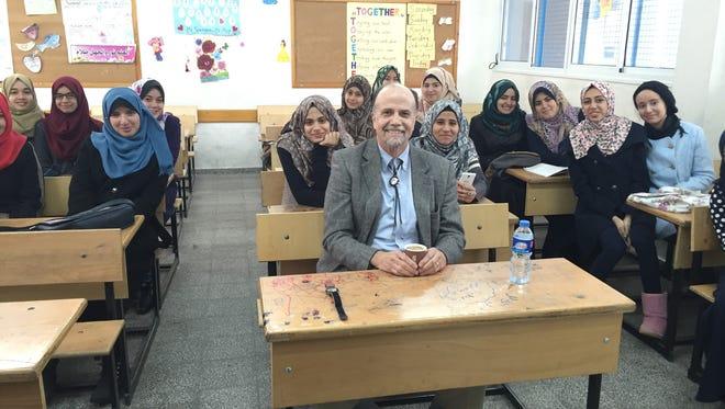 Dr. David Drake visiting a high school English class in Gaza.