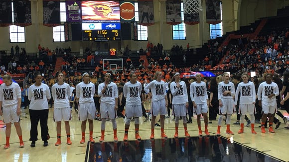 OSU players gather for the national anthem prior to the UCLA game at Gill Coliseum on Feb. 21, 2016. The Beavers won 64-54