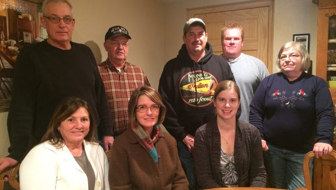 Members of the group STOMP oppose a planned sand mine south of Campbellsport. Top row from left are Randy Karoses, Frank Stoffel, Ed Kubicek and Nathan Scheel. Bottom from left are Coleen Karoses, Stephanie Brehm, Melissa Polzin and Debbie Bates.
