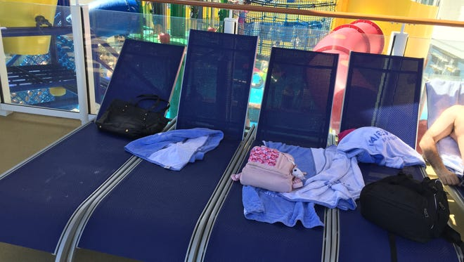 Cruise ship chair hogs put their stuff on the pool lounge chair seats so nobody else can sit there.