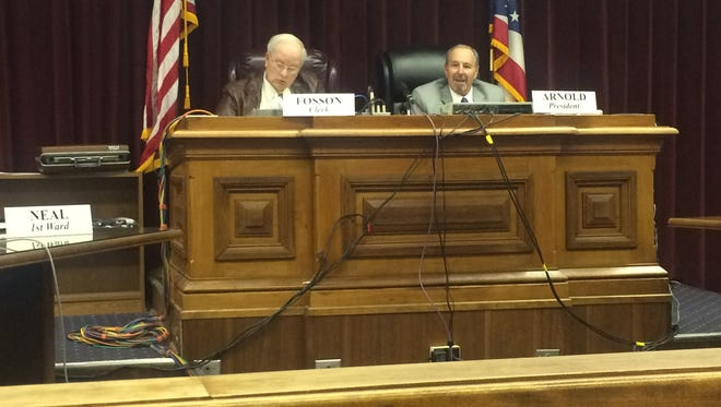 Council President Bruce Arnold, right, talks during Monday's Chillicothe City Council meeting. Council meetings will now be televised on Horizon, according to the city.