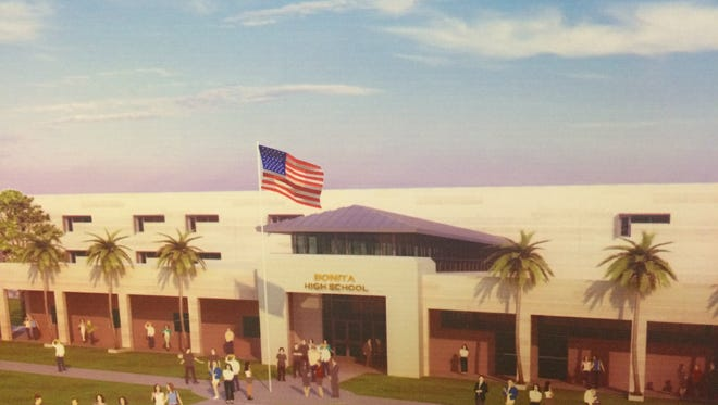 Designer's rendition of what a new Bonita Springs High School would look like. The same design would be used for either a site on Imperial Parkway or a site at Bonita Beach Road and Bonita Grande Drive.