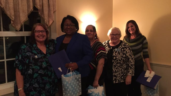 A graduation ceremony for the Launch for Success Project was held recently at a meeting of Soroptimist International of Cumberland County. Some members of the organization have served as mentors for the program. (From left) Jeanne Garrison, mentor, Audrey Carter, mentor, Maria Carrasquillo, graduate, Carol Hutton, mentor, and Corey Smith, graduate, are pictured at the ceremony.