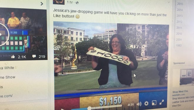 A screen shot of Wheel of Fortune's Facebook page that showed Jessica Nadeau win $68,015.