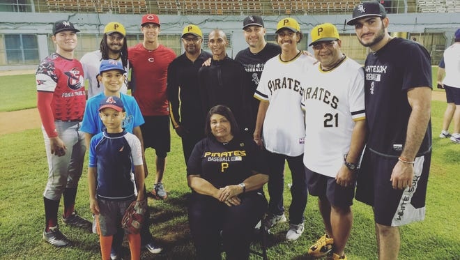 Reds pitcher Michael Lorenzen, third from left in the back row, during a trip to Puerto Rico.
