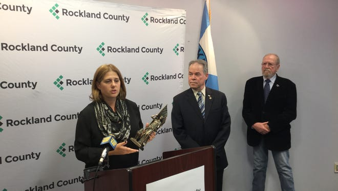 New City veteran Elisabeth M. Gessel with the 2016 Freedom Award for her service at home and overseas.