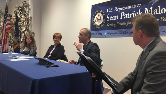 From left, Sue Malley, director of the VA's New York Regional Office, Margaret Caplan, director of the VA's Hudson Valley Health Care System,  Rep. Sean Patrick Maloney, D-Cold Spring, and Journal Engagement Editor John Penney at a forum for veterans held Saturday.