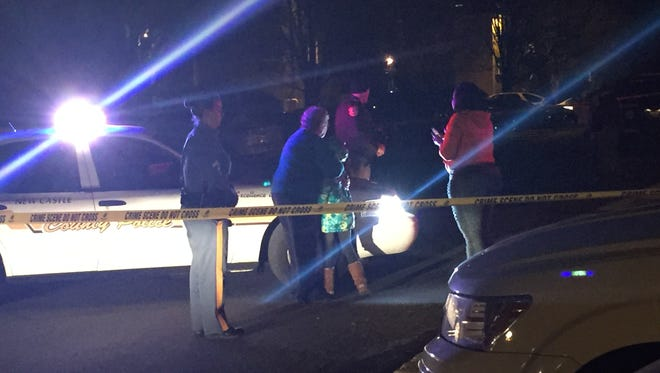 Police and witnesses were on the scene of a shooting at an Ogletown apartment complex on Saturday night.