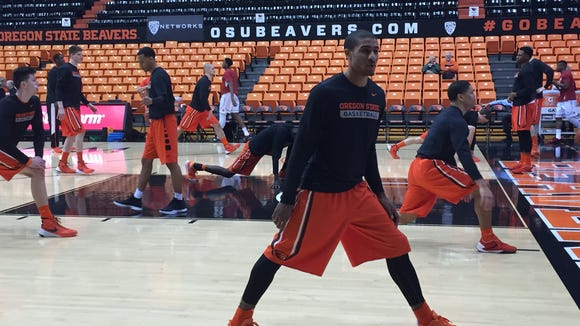 Oregon State guard Gary Payton II and teammates warm up before their game against Washington State at Gill Coliseum on Feb. 28, 2016.