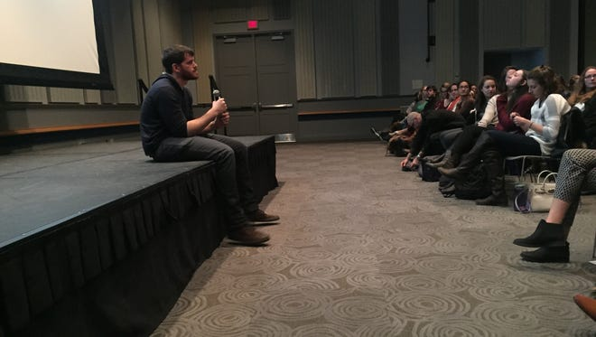 """Humans of New York"" creator Brandon Stanton holds a Q&A with University of Delaware students after a talk on campus Monday night."