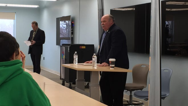 Sandusky County Sheriff candidate Bruce Gower addresses students from Erie County during a debate Wednesday.