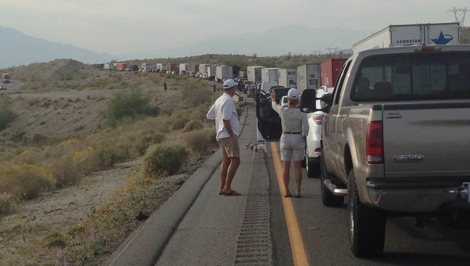 Traffic on I-10 West came to a standstill Thursday afternoon after a big rig fire forced CHP to shut down both lanes.