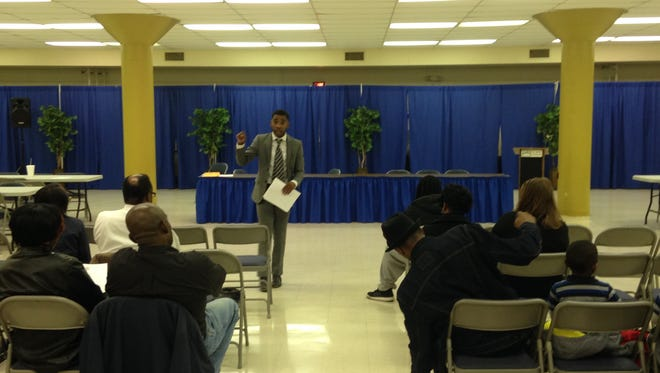 Tracy Boyd leads a meeting Thursday at T.R. White Sportsplex on community issues in Jackson.