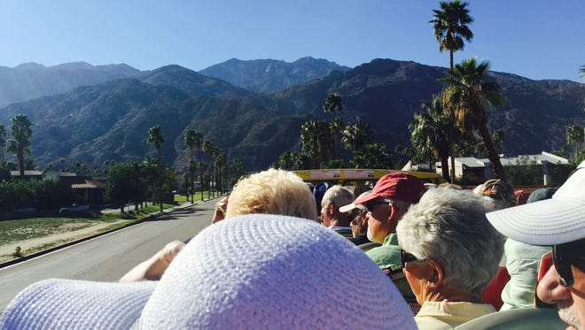 The view from the top deck of a neighborhood bus tour during Modernism Week 2016.
