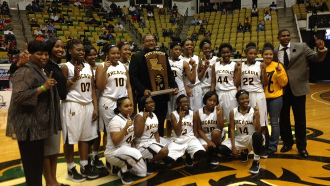 Arcadia Lady Hornets celebrate state title.