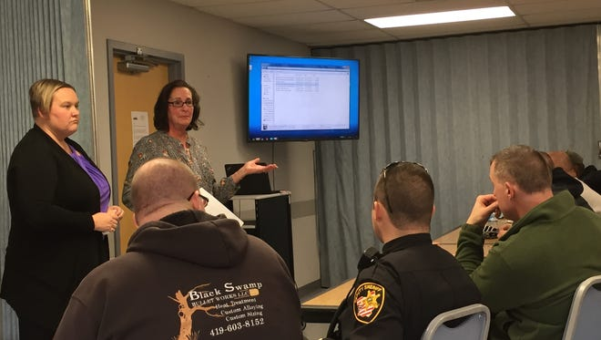 Deputies are trained by Erie County Health Department representative Janet Messenburg on how to use opioid reversal drug Narcan.