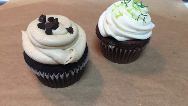 Simply Pure Sweets: spicy dark chocolate cupcake with peanut butter icing and Guinness chocolate cupcake with Irish cream icing.
