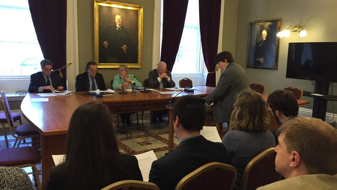 Beth Pearce addresses the Senate Government Operations Committee on March 8, 2016, about divestment