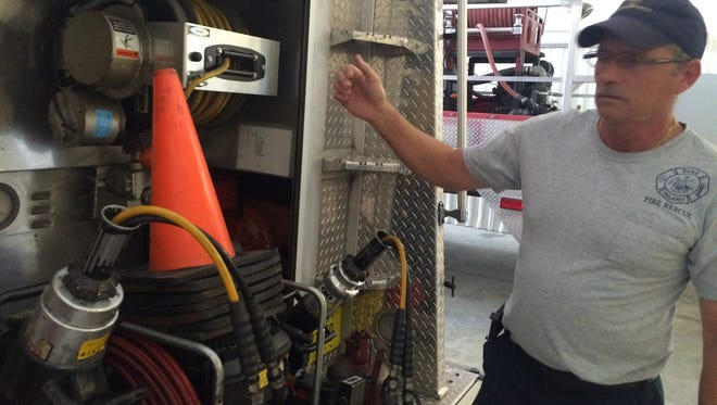Matlacha/Pine Island Fire Control District Capt. John Cook displays the outdated extraction equipment firefighters have to use.