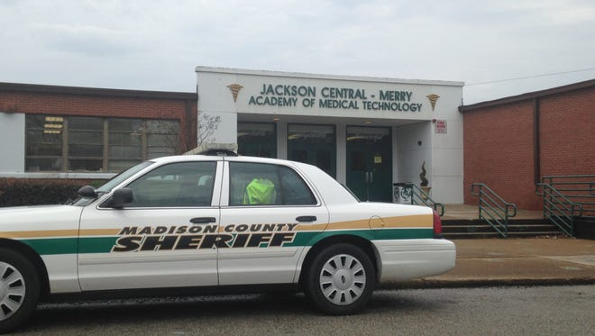 A Madison County Sheriff's Office car outside Jackson Central-Merry High School following a fight this afternoon.