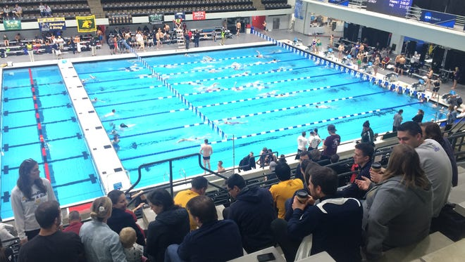 The University of San Diego swim teams competed in the NCAA Division II Swimming and Diving Championships at Indiana University Natatorium in Indianapolis this weekend. With the teams came 22 alumni swimmers to cheer them on.