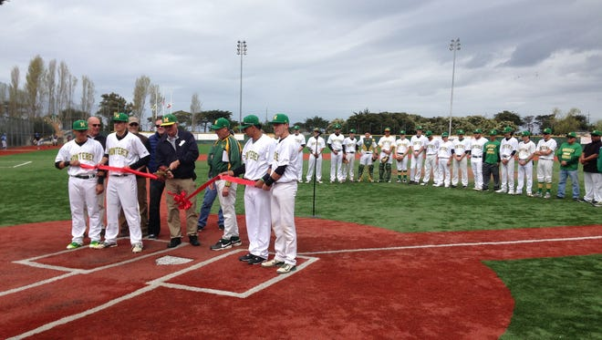 Monterey High celebrates the renovation of Sollecito Park with a ribbon cutting ceremony prior to its game on Saturday.