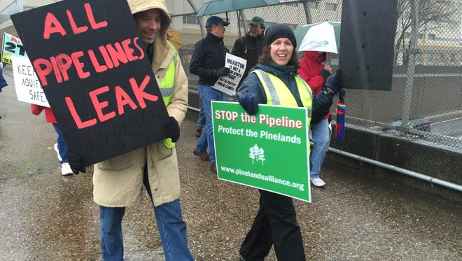 Environmentalists rally in Trenton against a natural gas pipeline that would run through Plumsted and Manchester, as well as other projects they say threaten the Pinelands.