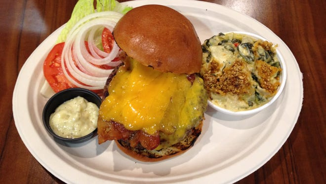 CAB Burger with the spinach artichoke bake side.