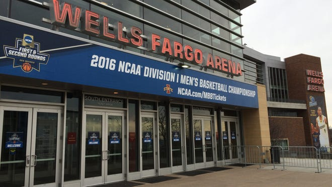 A looped audio recording outside the Wells Fargo Arena box office warns basketball fans away from buying tickets second-hand.