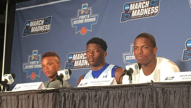 Derrick Gordon, Angel Delgado and Isaiah Whitehead take questions during Wednesday's press conference in Denver.